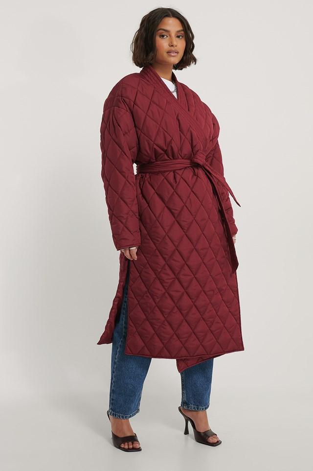 Quilted Kimono Coat Red Wine