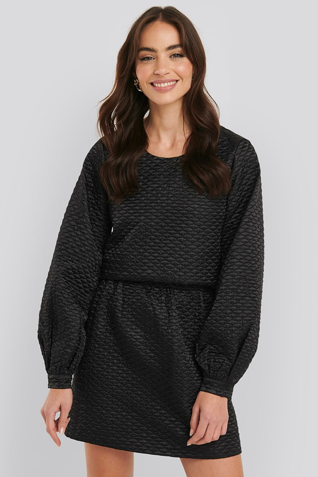 Quilted Mini Satin Skirt Black