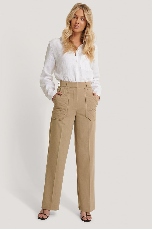 Dark Beige Quilted Pocket Suit Pants
