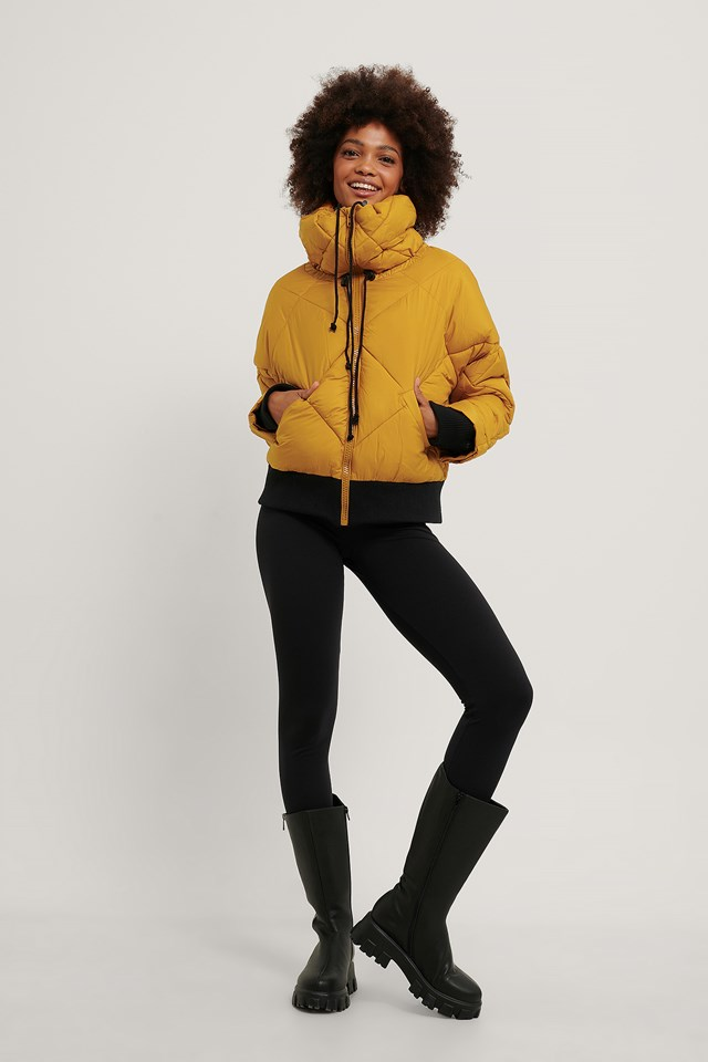 Quilted Puffa Jacket Yellow