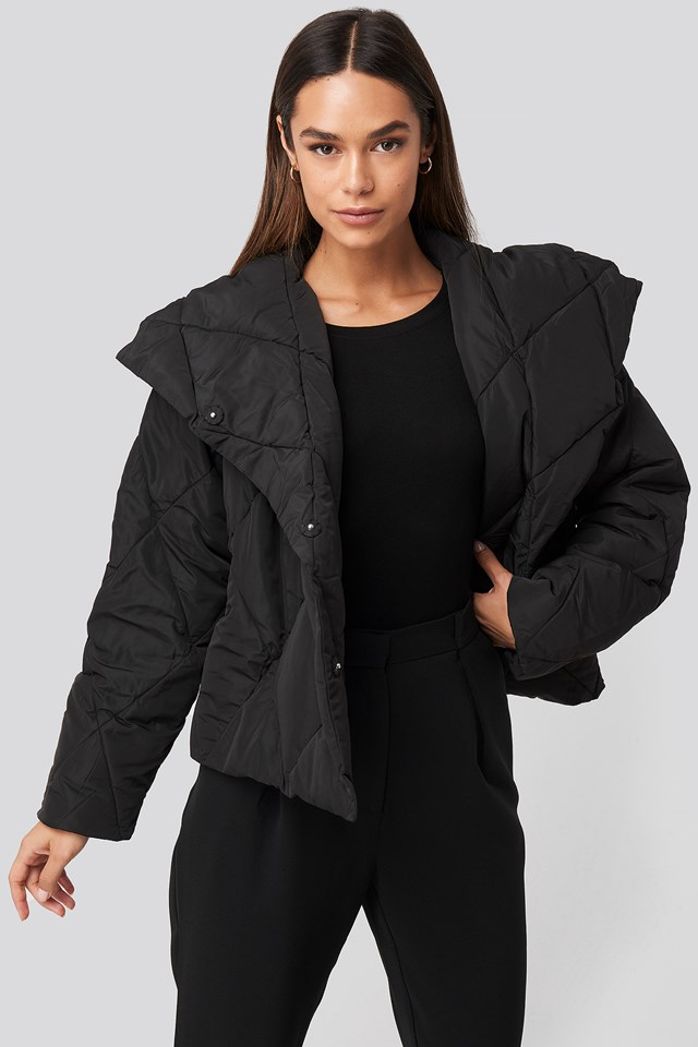 Quilted Short Padded Jacket Black