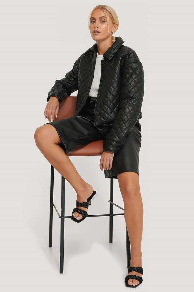 Quilted Short PU Jacket Black