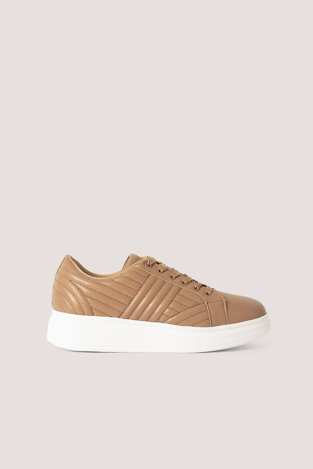 Beige Quilted Sneakers