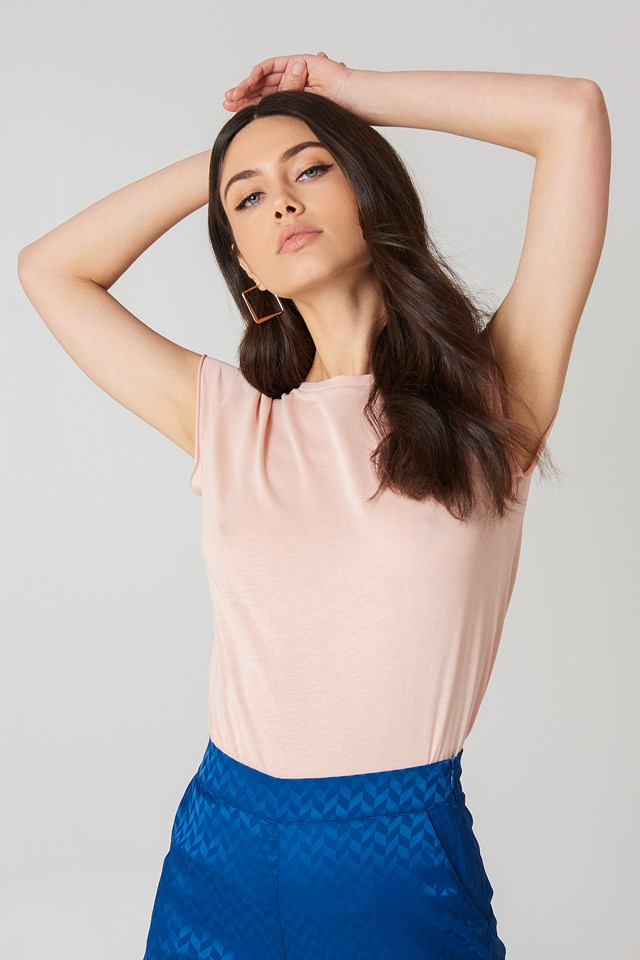Dusty Light Pink Raw Edge Tee
