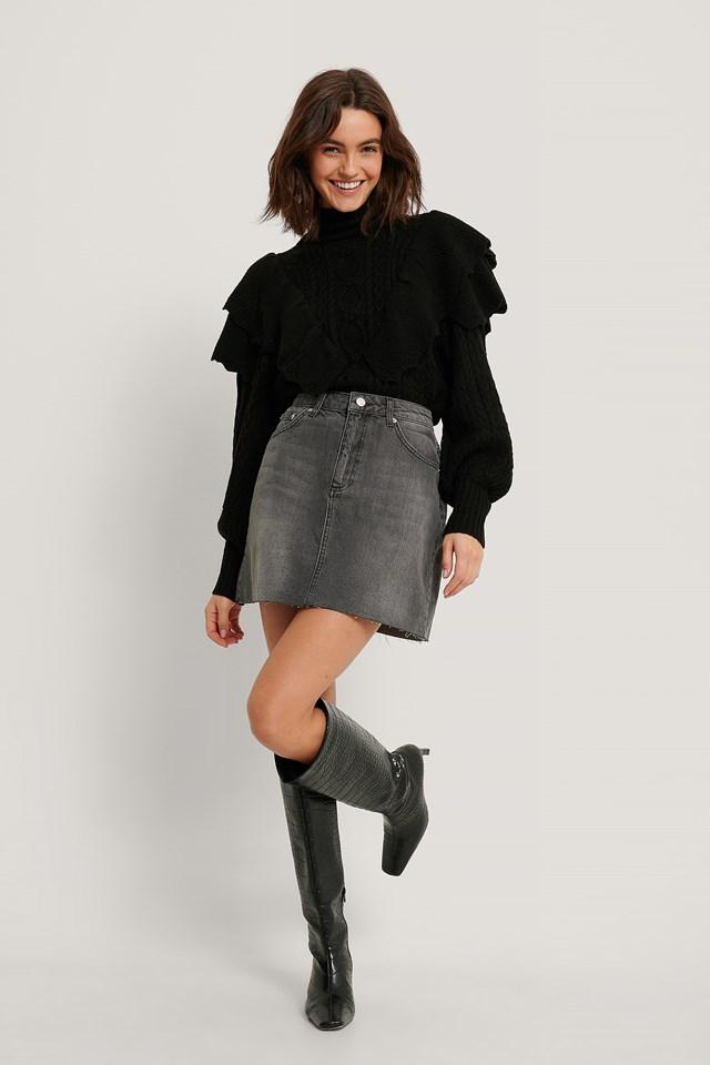Raw Hem Denim Mini Skirt Grey Wash