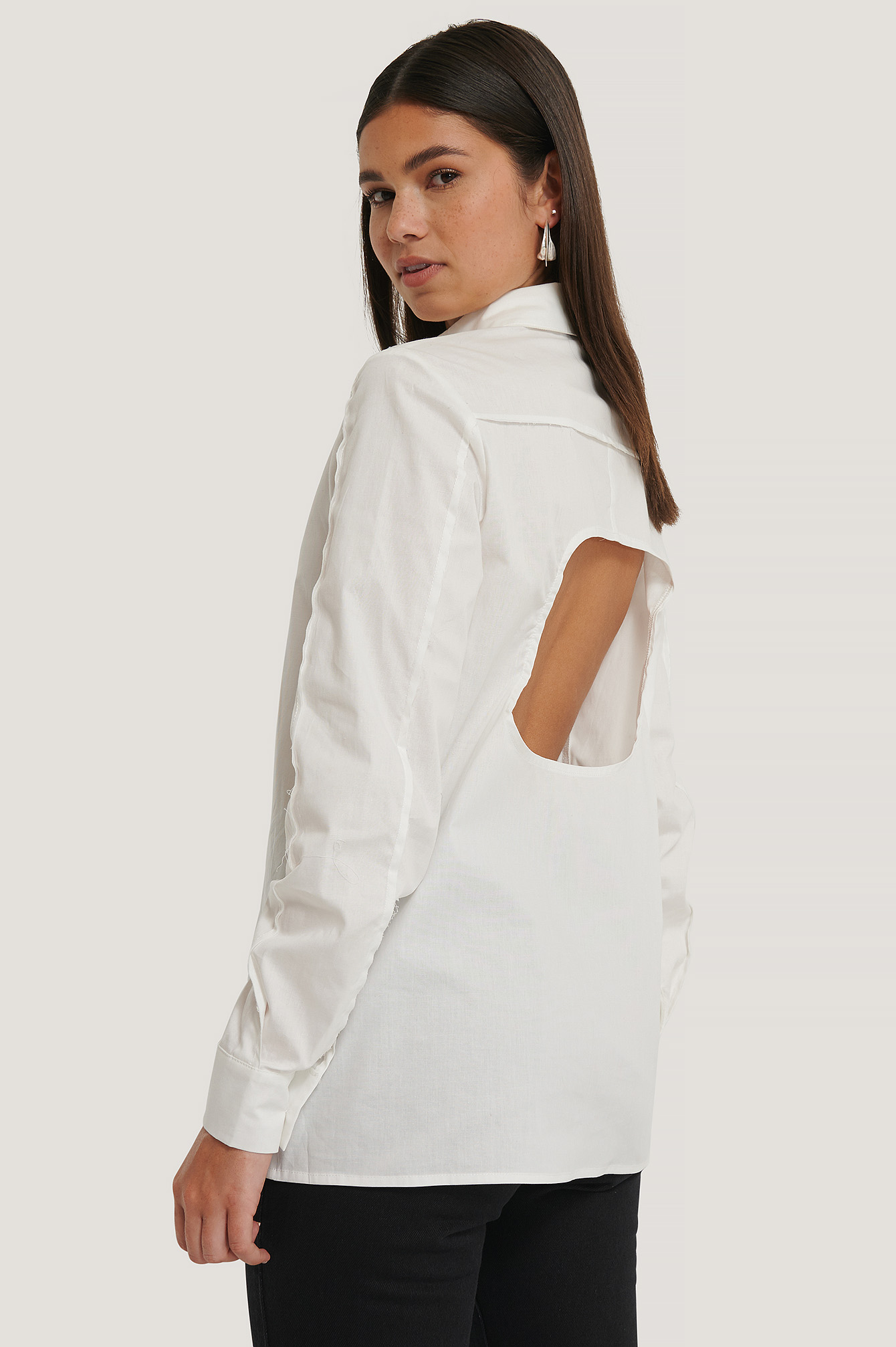 White Raw Seam Oversized Shirt