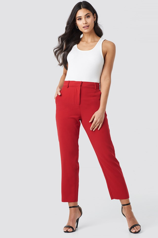 Raw Hem Pants Red