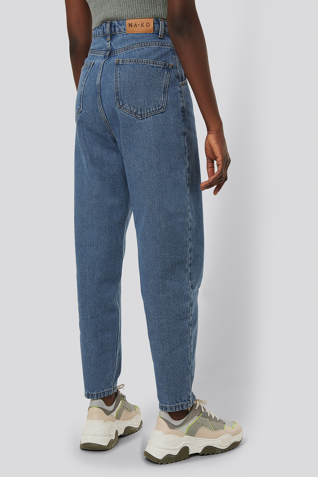 Mid Blue Cropped Balloon Leg Jeans