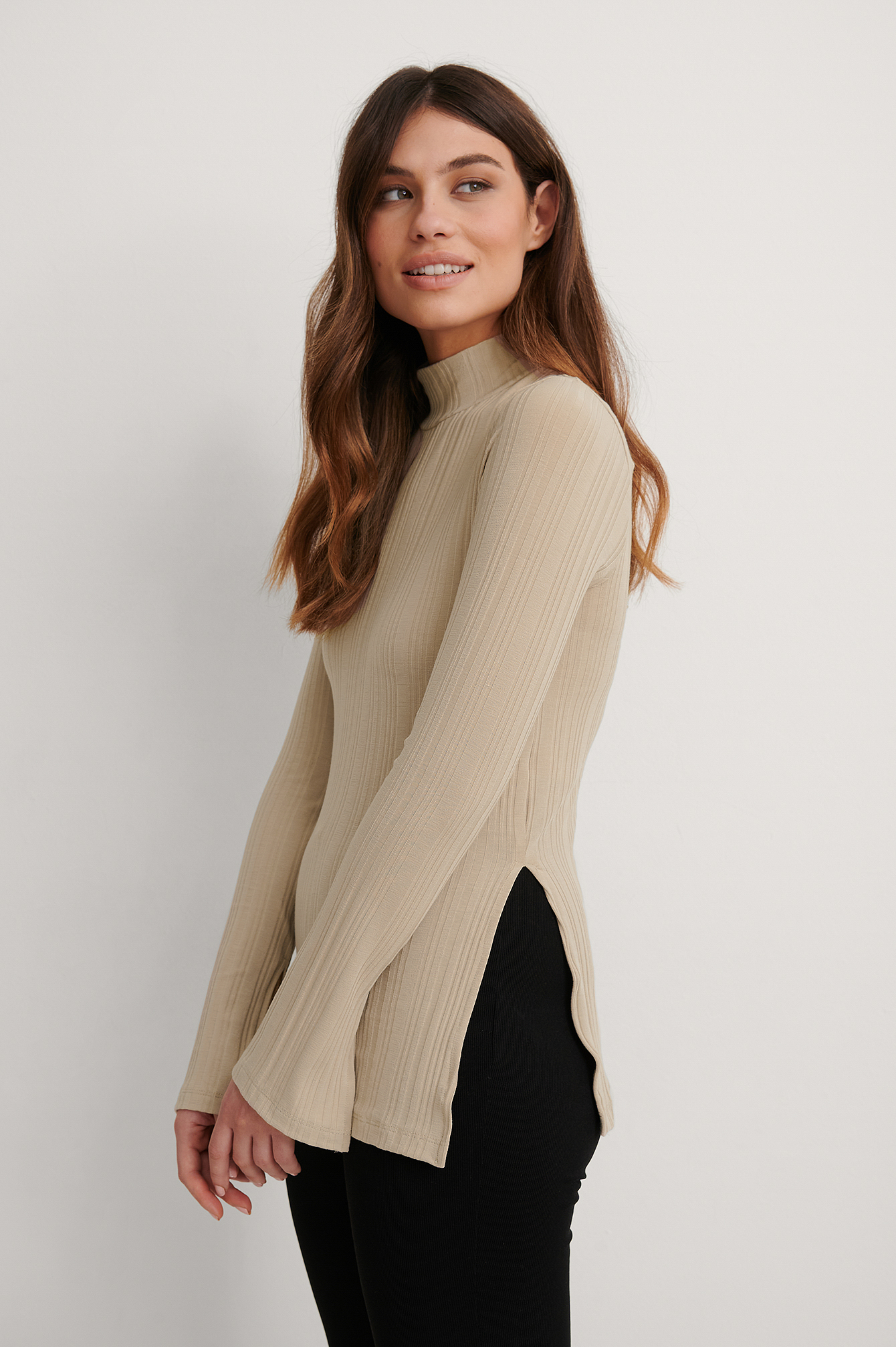 Beige Recycled High Neck Slit Top