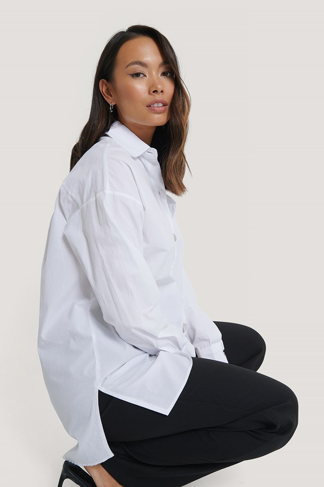 White Relaxed Shirt with Metal Buttons