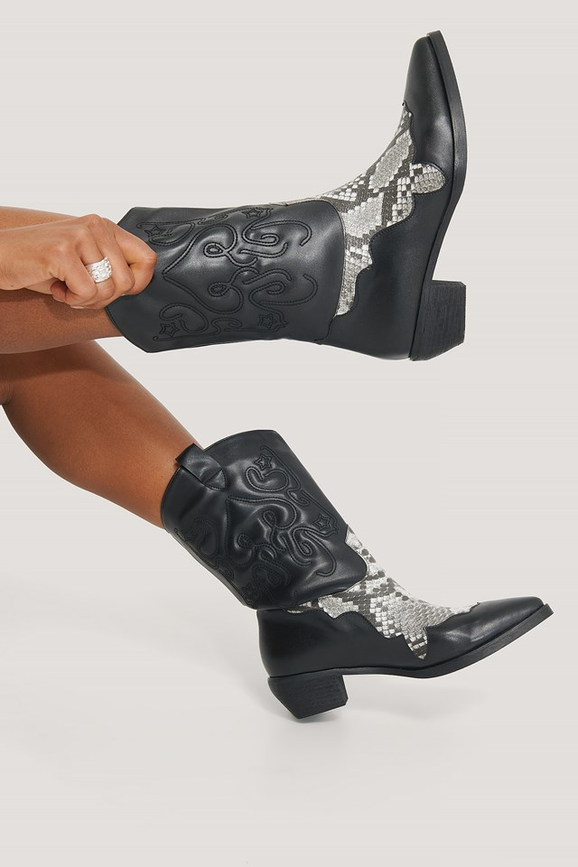Black Snake/Black Reptile Detailed Cowboy Boots