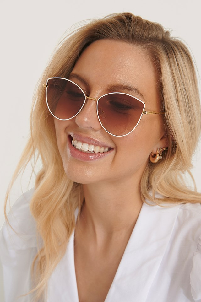 Retro Cateye Sunglasses White