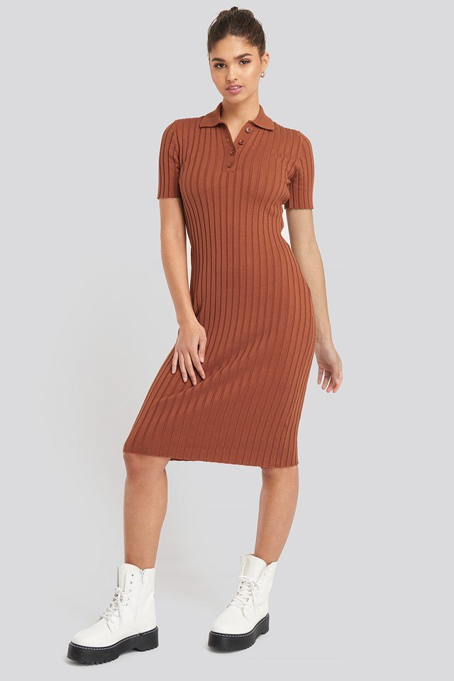Rib Knitted Midi Dress Rust