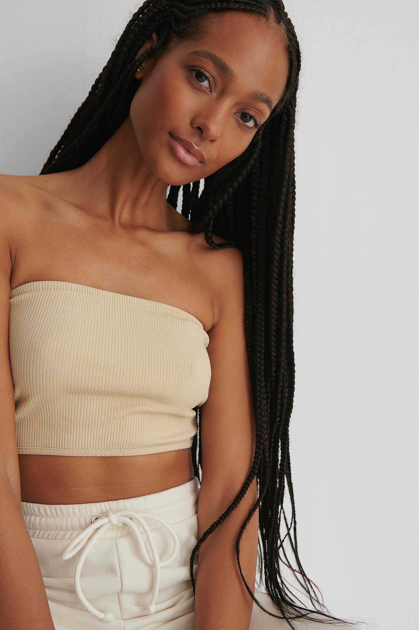 Light Beige Karbowany Top Bandeau