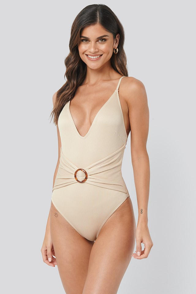 Sand Ribbed Buckle Swimsuit