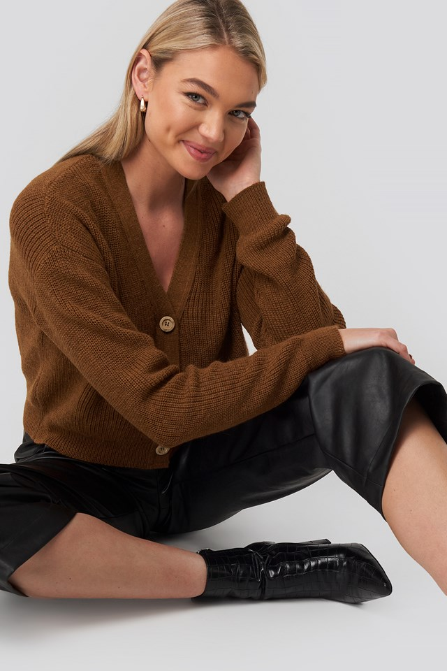 Ribbed Button Up Cardigan Brown