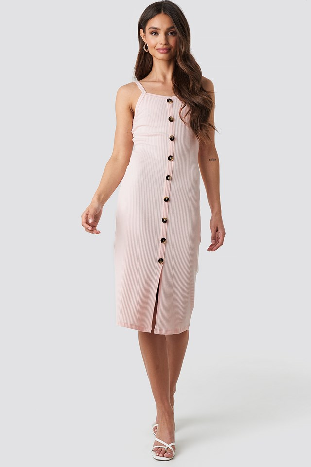 Pink Ribbed Button Up Midi Dress