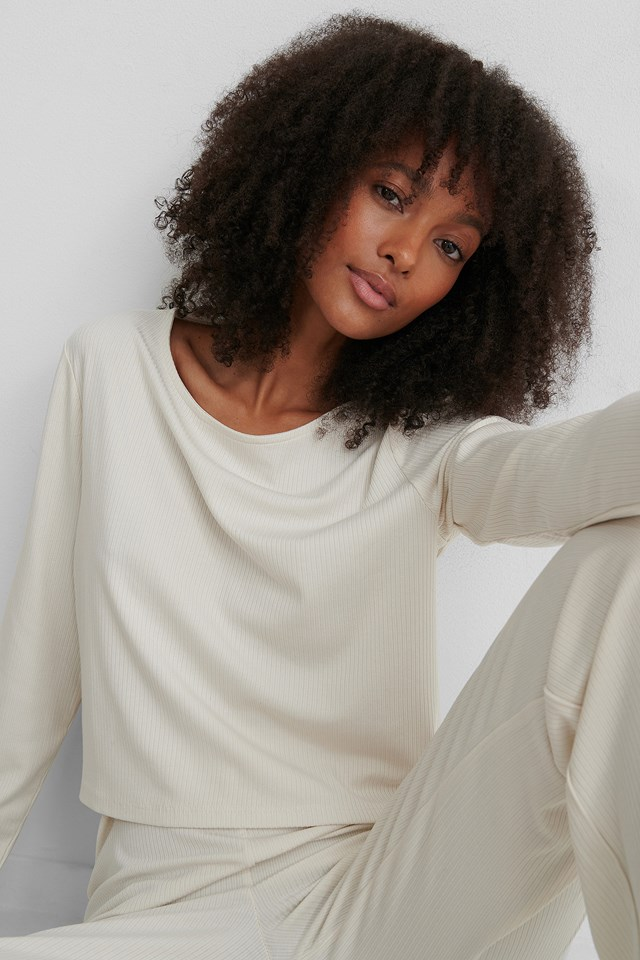 Ribbed Cropped Longsleeve Dusty Light Beige