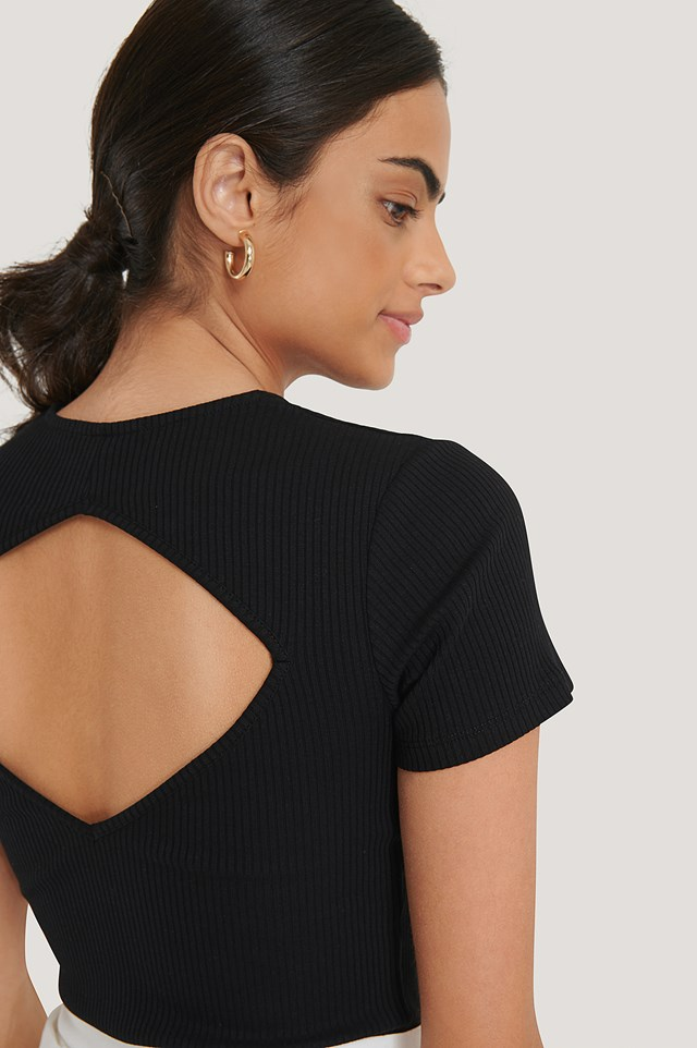 Black Ribbed Cut Out Top