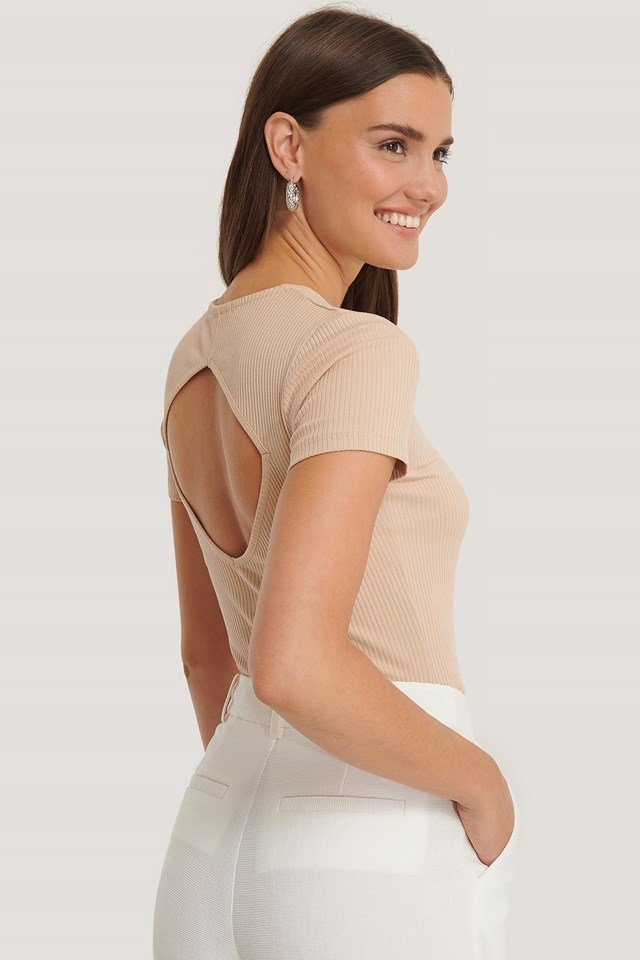 Beige Ribbed Cut Out Top