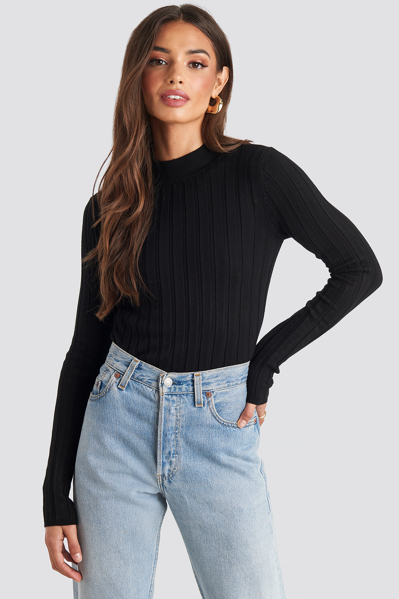 Black Ribbed High Neck Knitted Sweater