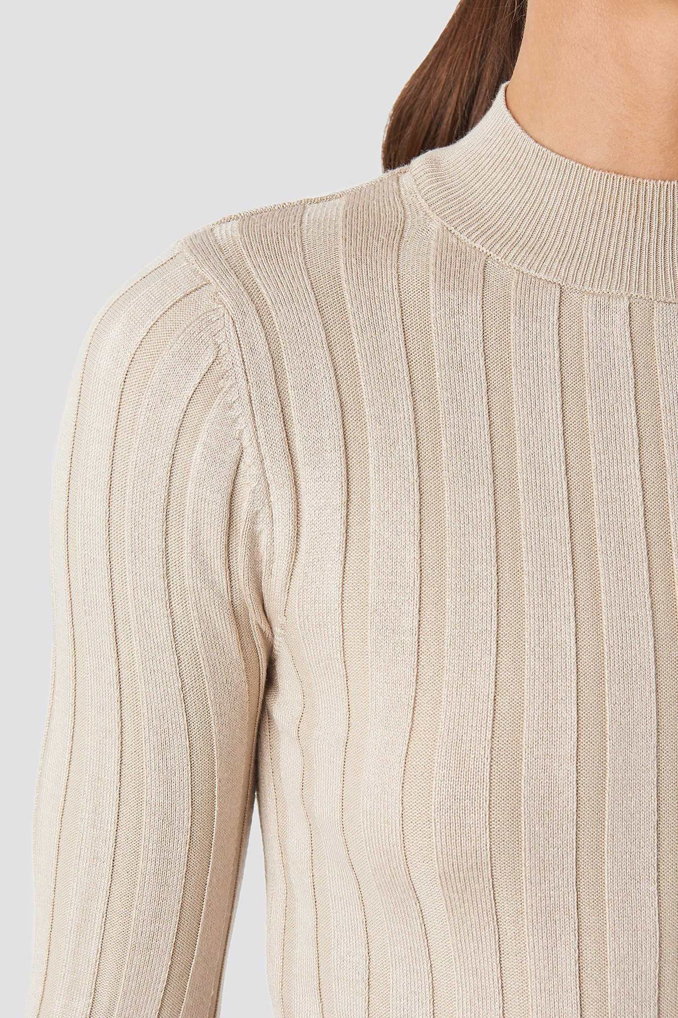 Beige Ribbed High Neck Knitted Sweater