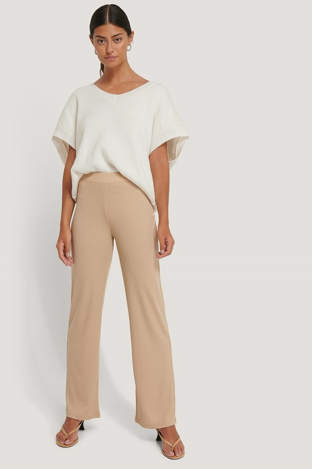 Ribbed Jersey Pants Beige