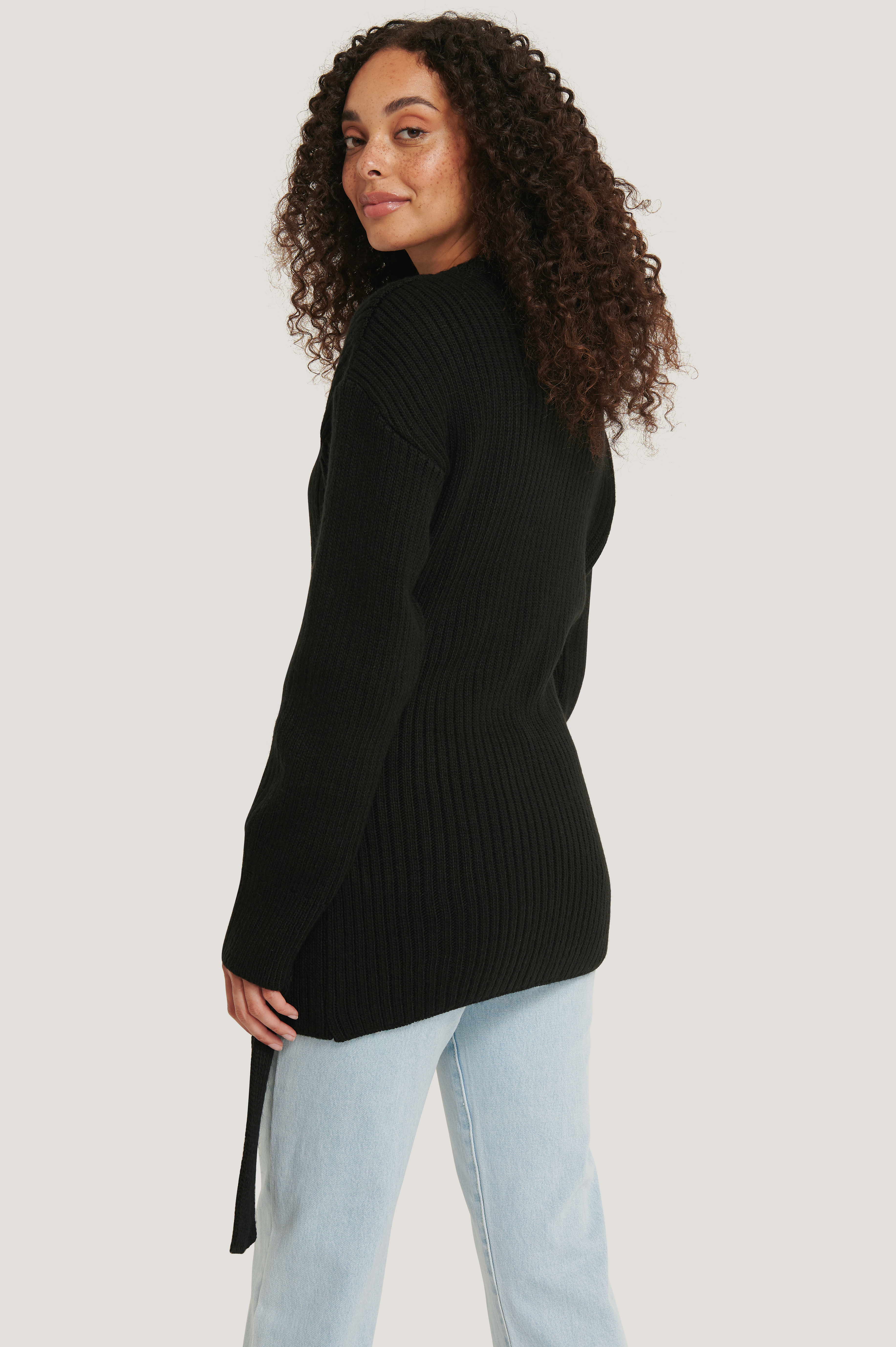 Black Ribbed Knitted Cardigan