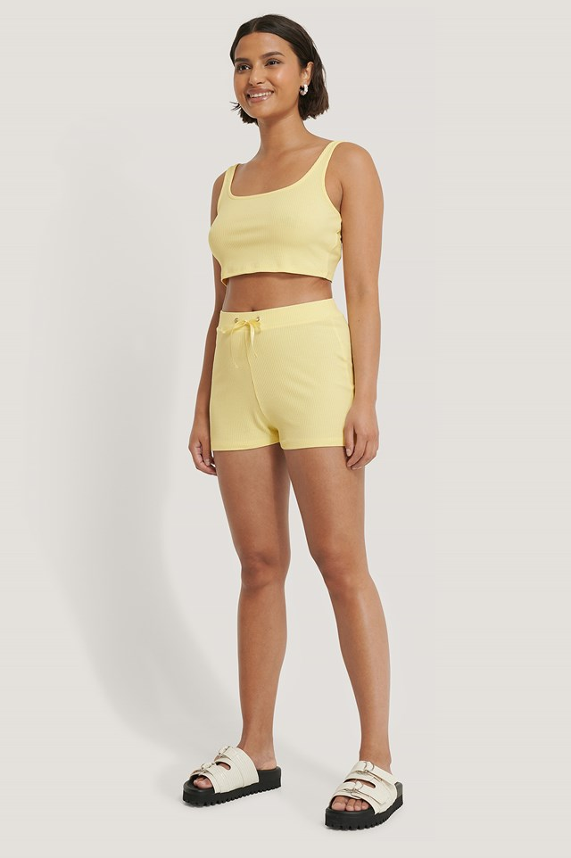 Ribbed Lounge Cropped Shorts Yellow