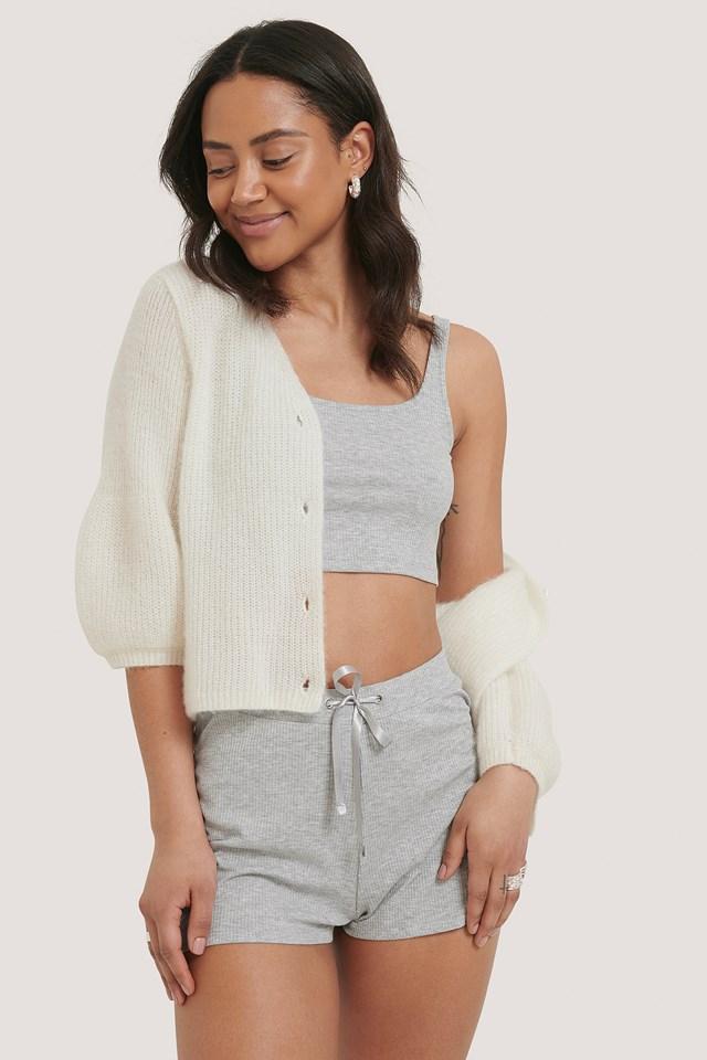 Grey Melange Ribbed Lounge Cropped Shorts