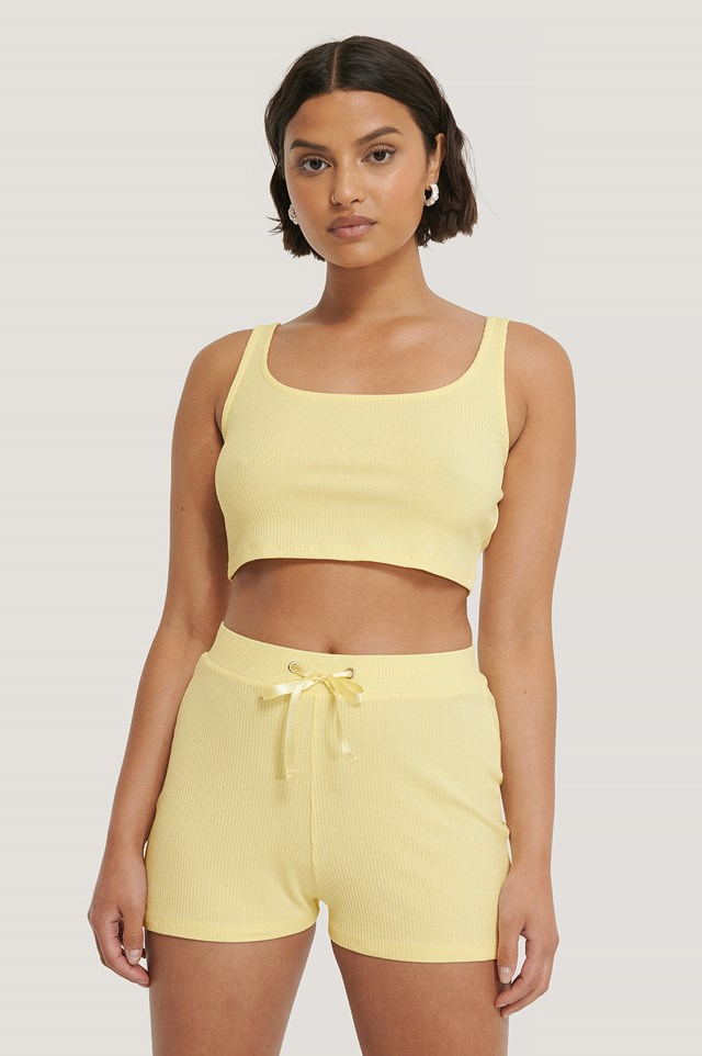 Yellow Ribbed Lounge Cropped Top