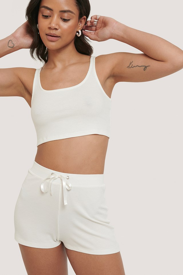 Offwhite Ribbed Lounge Cropped Top