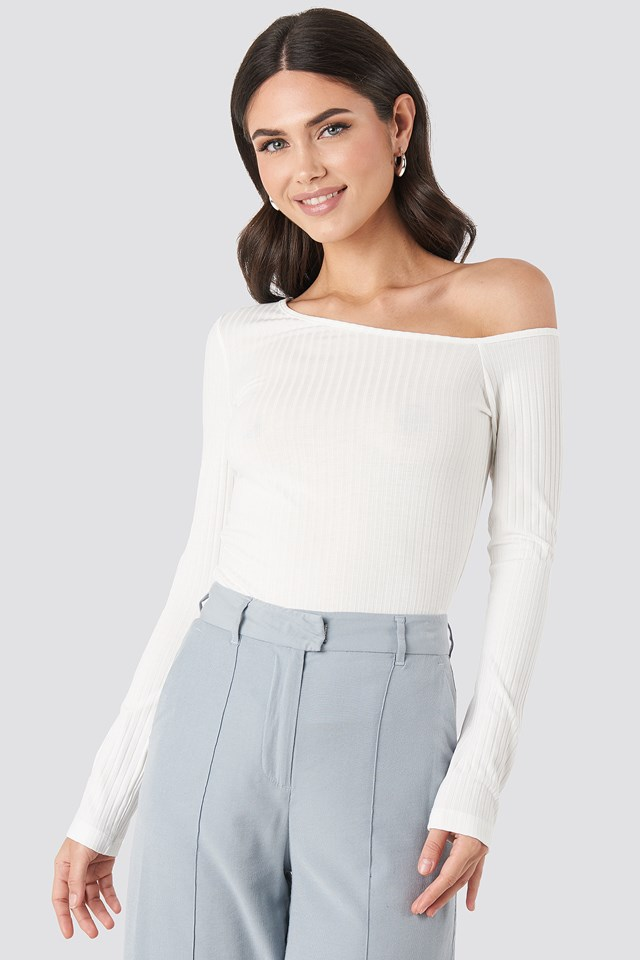 Offwhite Ribbed One Shoulder Long Sleeve Top