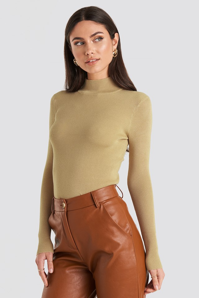 Ribbed Polo Knitted Sweater Beige
