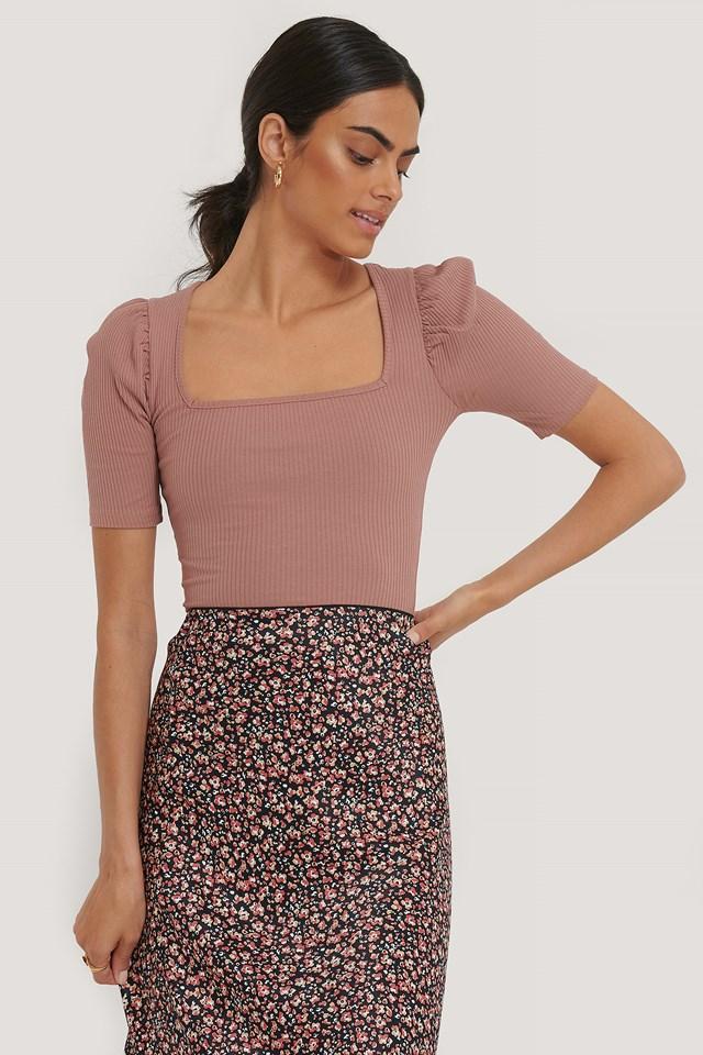 Ribbed Puff Short Sleeve Top Dusty Dark Pink