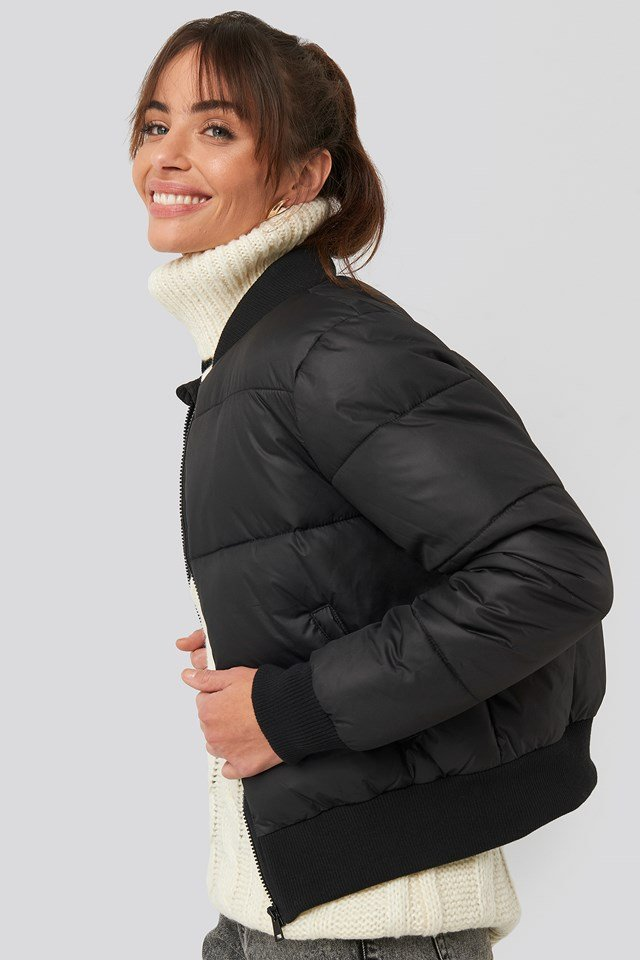 Ribbed Sleeve Puffer Jacket Black