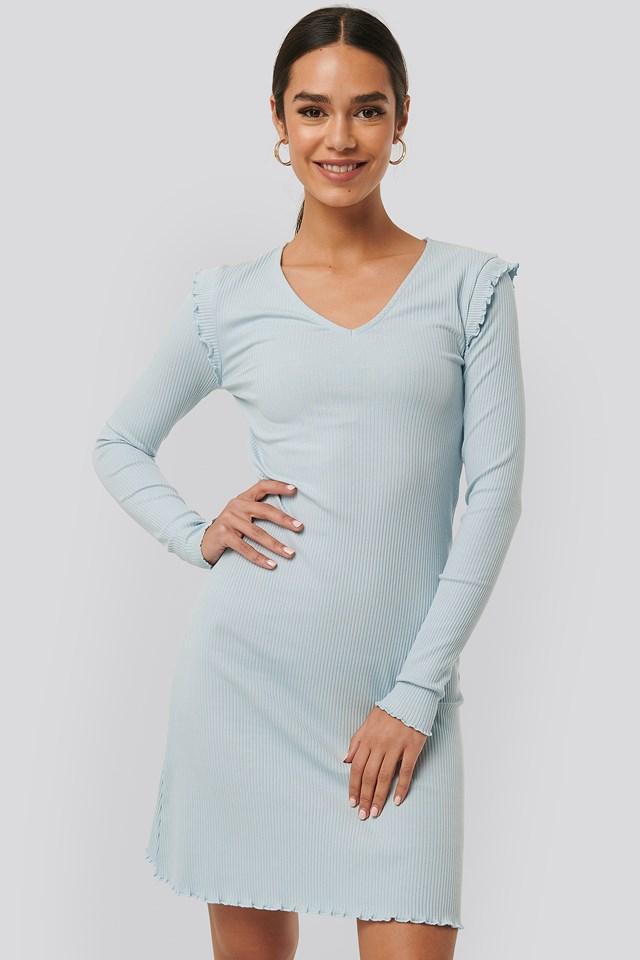 Ribbed V Neck Shoulder Detail Dress Light Blue