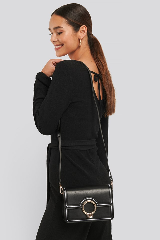 Ring Closure Crossbody Bag Black