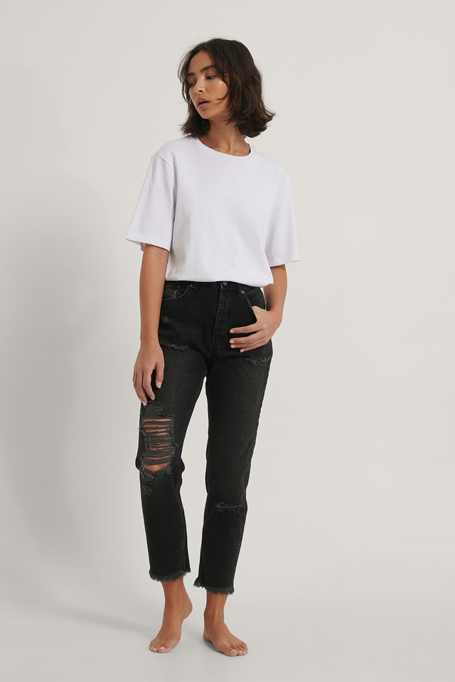 Black Organic Ripped Detail Mom Jeans