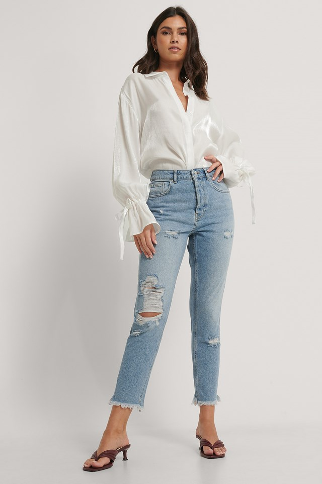 Light Blue Organic Ripped Detail Mom Jeans