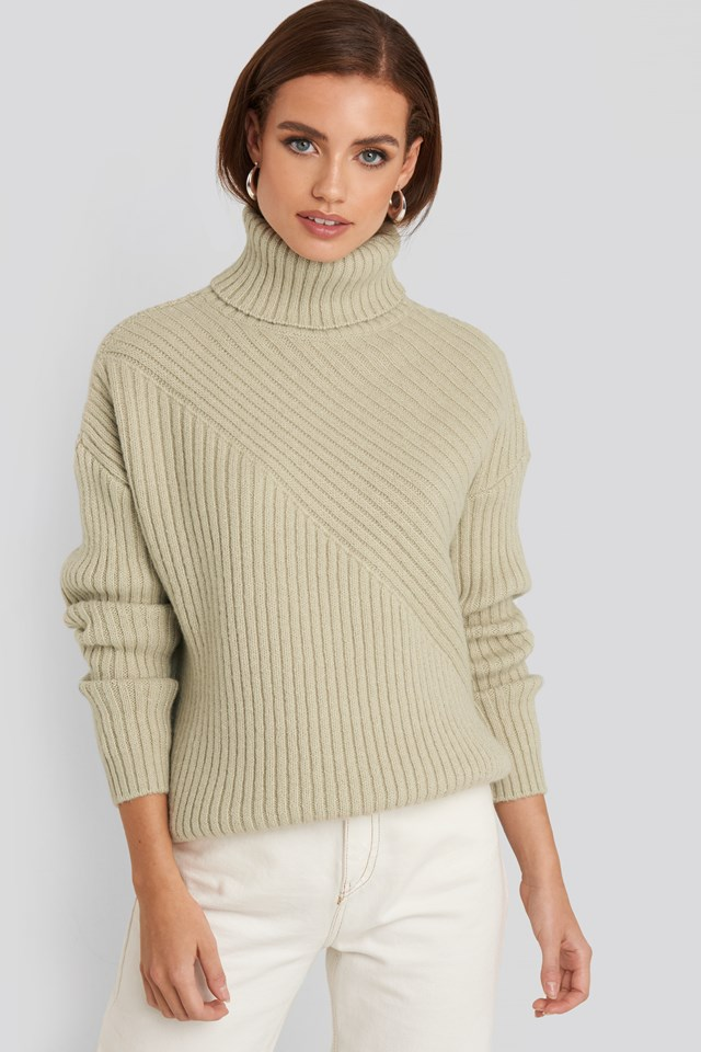 Roll Neck Asymmetric Rib Sweater Beige