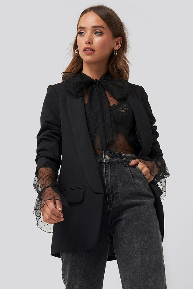 Rolled Up Sleeve Lapel Blazer Black