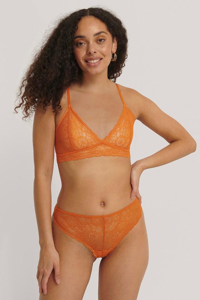 Orange Romance Lace V-String