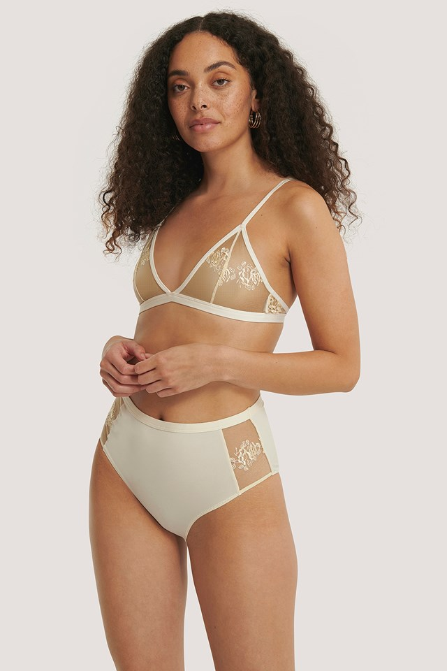 Romantic French Embroided Highwaist Panty Yellow