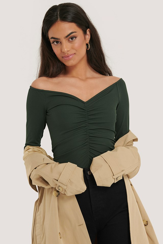 Recycled Rouched Long Sleeve Top Green