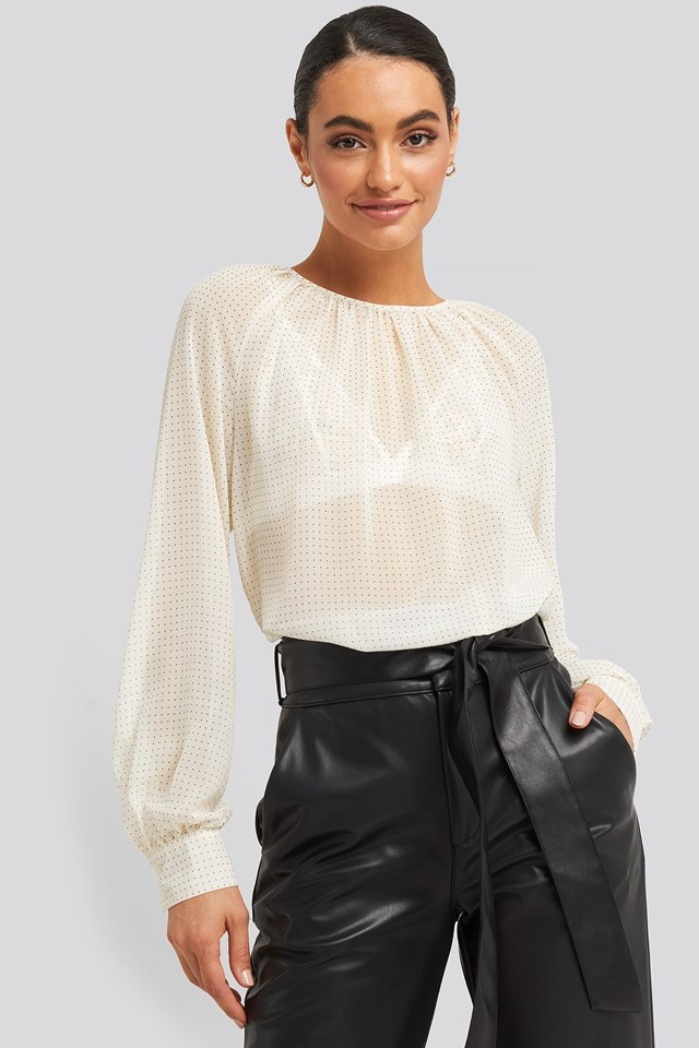 White/Black Dot Round Neck Dotted Flowy Blouse