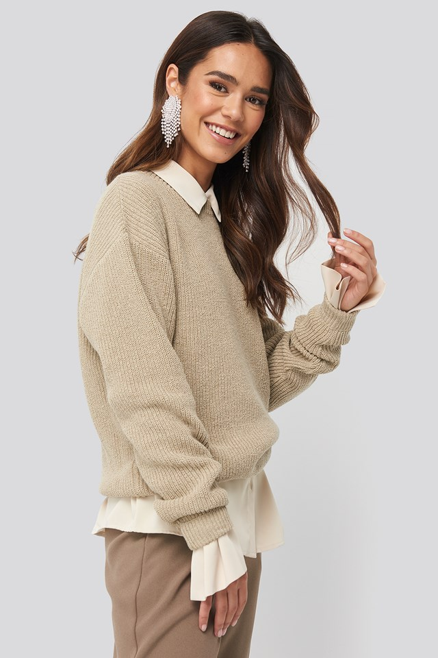 Round Neck Drop Shoulder Sweater Tan