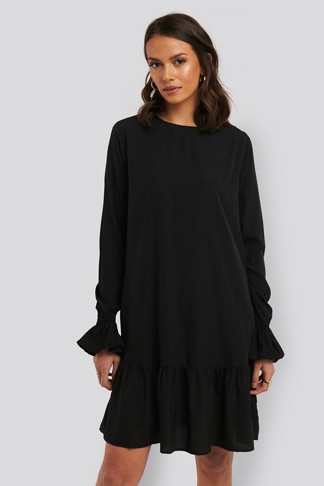 Black Round Neck Flounce Mini Dress