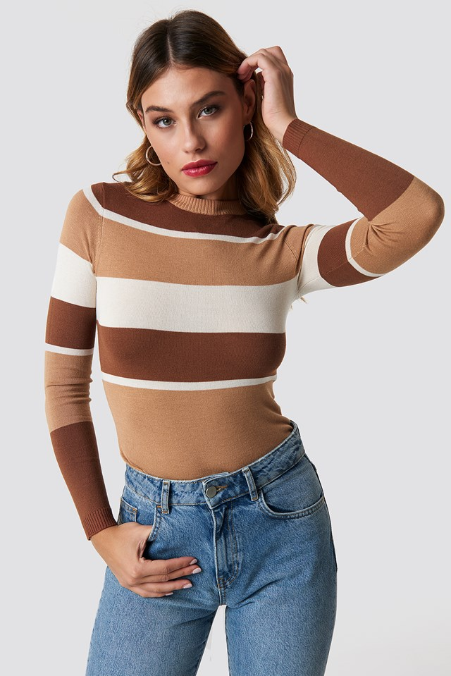 Round Neck Multi Striped Sweater Brown