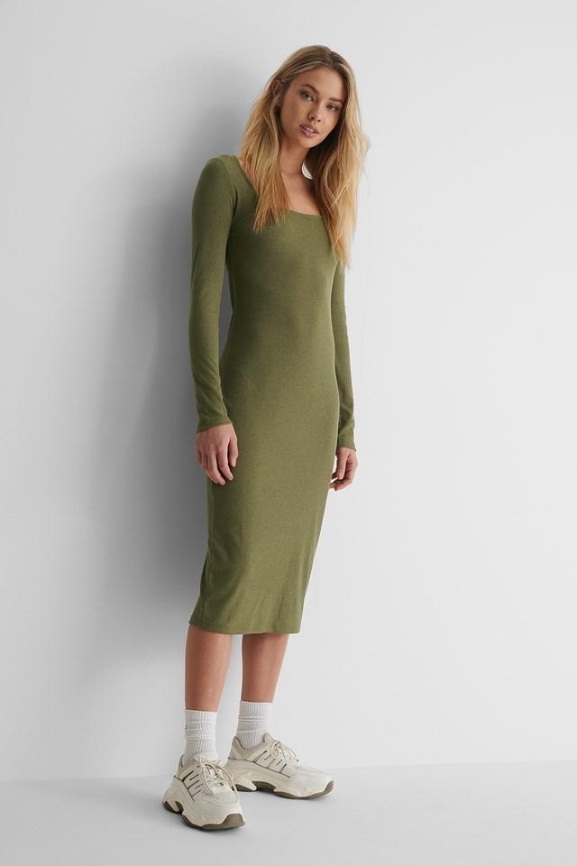 Round Neck Rib Dress Khaki